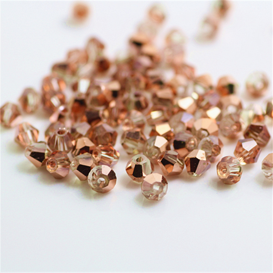 Isywaka Sale Red Copper Color 100pcs 4mm Bicone Austria Crystal Beads Charm Glass bead Loose Spacer Stone for DIY Jewelry Making(China)