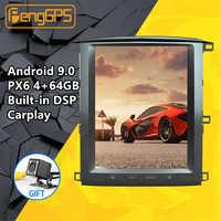 Lettore Multimediale dell'automobile Per Lexus LX470 / TOYOTA Land cruiser LC100 02-07 GPS Nav Tesla Dello Schermo di Android PX6 stereo Radio unità di Testa