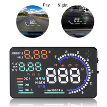 Auto OBD2 Hud 5.5 'Led Display Voorruit Projector A8 Auto Head Up Obd Scanner Snelheid Brandstof Waarschuwing Alarm Data diagnostic Tool
