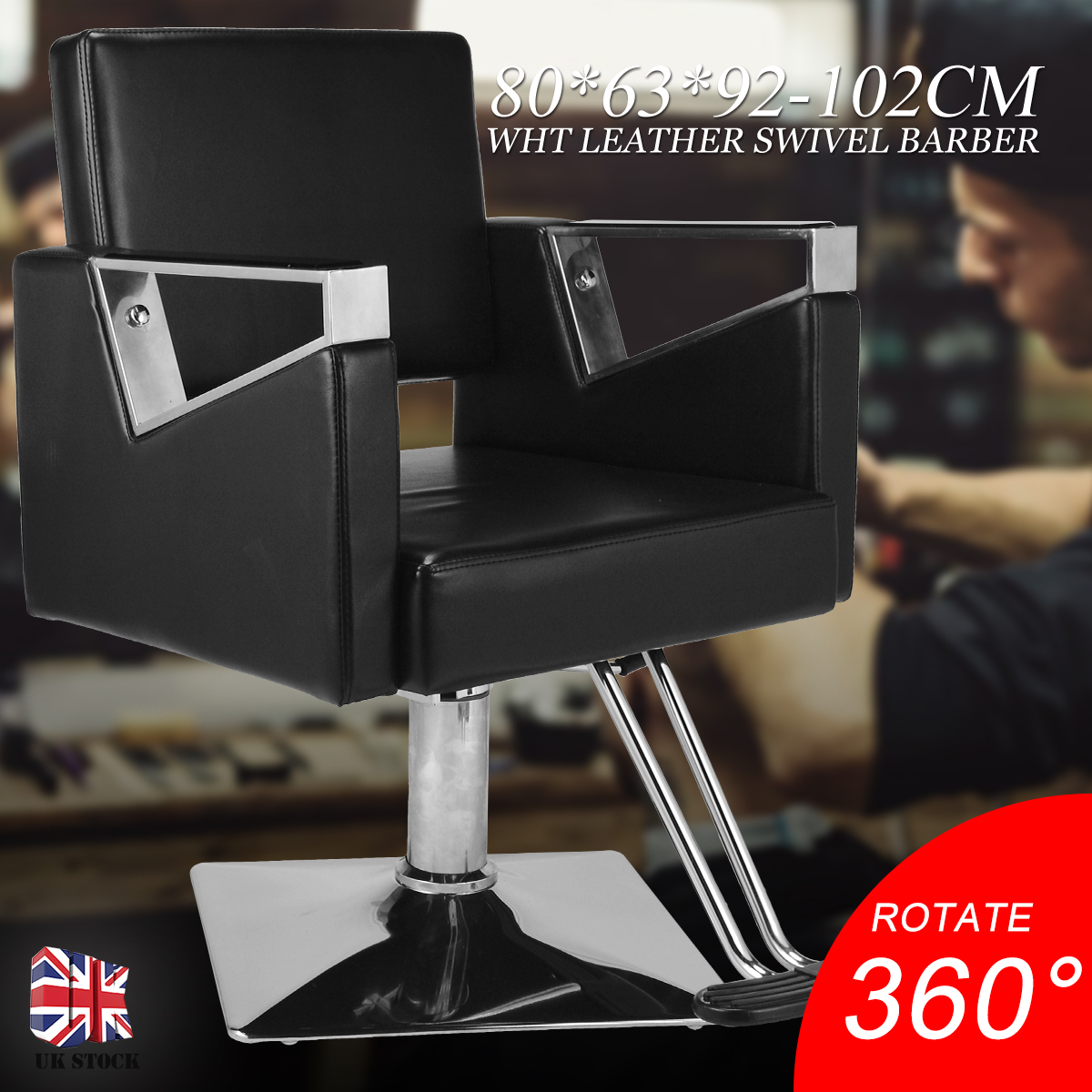 Black Hairdressing Swivel Chair Adjustable Seat PU Leather Chair For Salon Barber Beauty BarberShop Hair Cut Chair Furniture