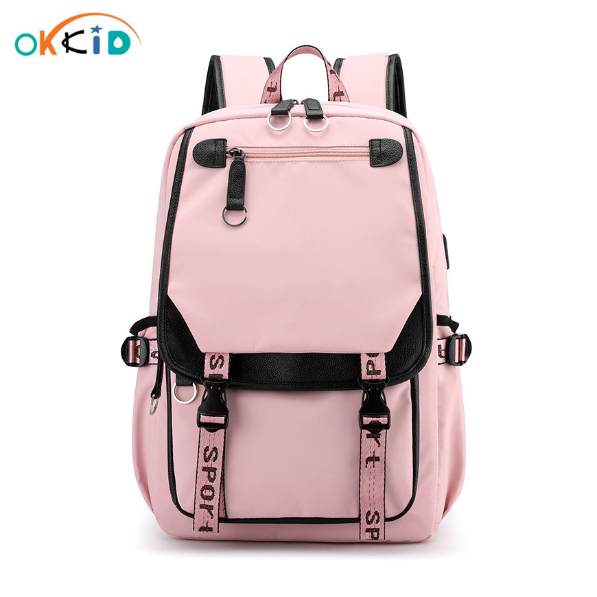 OKKID Children School Bags For Girls Kids Book Bag Cute Pink Backpack Girl Gift Waterproof Big School Backpack For Teenage Girl