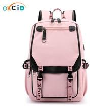 OKKID children school bags for girls kids book bag cute pink backpack girl gift waterproof big school backpack for teenage girl