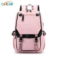 Okkid mochila escolar para meninas, crianças, bolsa para livros, bonita, rosa, presente, à prova dágua, grande, mochila escolar para adolescentes menina menina