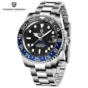 2020 New PAGANI DESIGN Luxury Men GMT Automatic Machinery Watch 40MM Ceramic bezel Jubilee Strap Sapphire 100M Waterproof Clock - Black blue 2