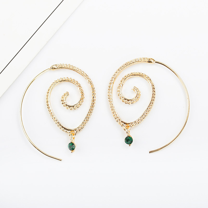 Gold Silver-plate Swirl Earrings for Women Circle Spiral Earrings Exaggerated Lady Wedding Jewellery Gift