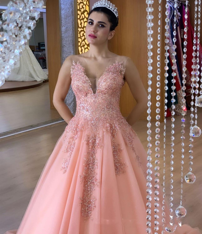 2020 rose longueur de plancher dentelle Appliques Orange Sexy col en v musulman robes formelles saoudien arabe robes de soirée longue robe de soirée