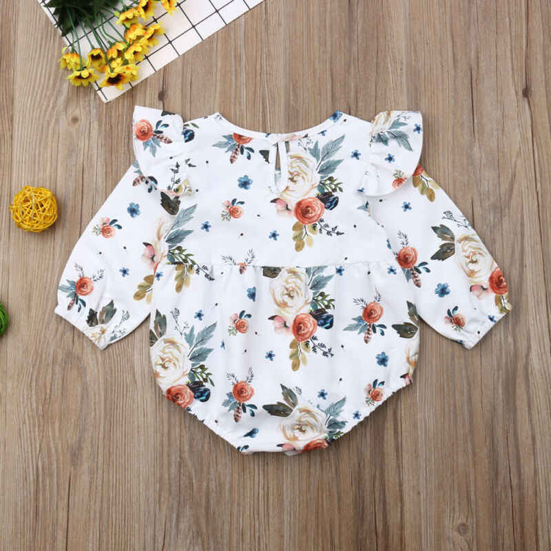 2019 Baby Lente Herfst Kleding Pasgeboren Baby Meisje Kleding Bloem Vliegen Lange Mouw Jumpsuit Bodysuit Casual Speelpakjes Outfit