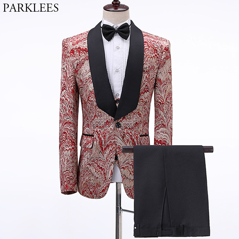 Men's Peacock Jacquard 3pc Dress Suit 1 Button Shawl Collar Luxury Suits Men Wedding Dinner Party Stage Tuxedo Terno Masculino