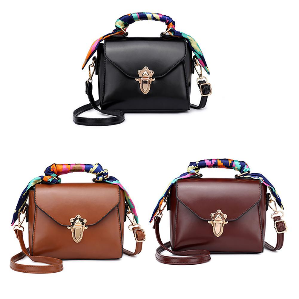 Women Small Korean Style Top-handle Handbag With Tassels Scarf Decor Leather Shoulder Crossbody Bag Messenger Phone Coin Bag
