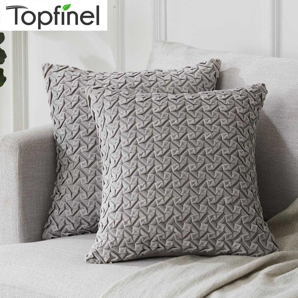 topfinel velvet cute decorative pillowcase small pleats cover cases throw pillows cushion covers for home sofa seat chair
