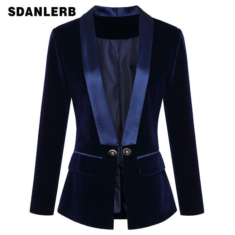 V Collar Blazer For Women 2019 Autumn And Winter New Satin Body Velvet Suit Coat Woman Small Coats Bussiness Women Blazer