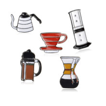 American coffee set pin AeroPress Chemex Filter cup enamel pin Brooches Shirt bag lapel pin badge Fashion jewelry Gift wholesale(China)