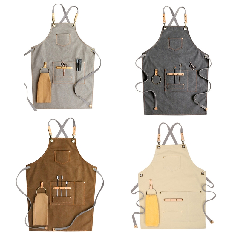 Chef Apron Cotton Canvas Cross Back Adjustable Apron with Pockets for Women and H58C