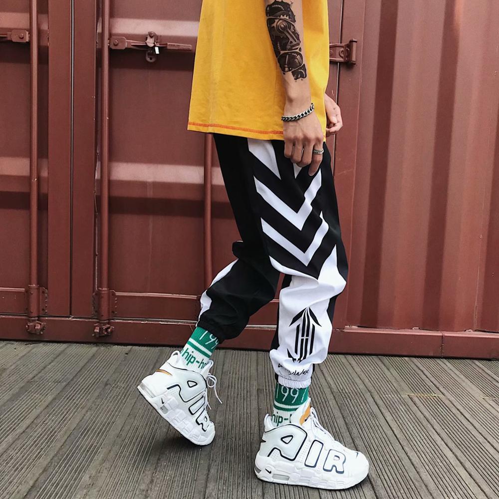 Sweatpants Men Plus Size Casual Black White Stripe Printed Fashion Men Cuffed Pants Hip Hop Pants Harem Pants Trousers For Male