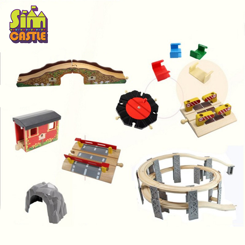 SIMCASTLE Beech Bridge Rail Track Accessories Fit for Brio Wooden Train Educational Boy Kids Toy Multiple Track Wood Block Toys