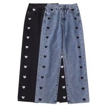 2021 nowe szerokie nogawki dżinsy kobiety miłość drukowanie rocznika Harajuku luźne dorywczo spodnie jeansowe wiosna ulicy wysokiej talii kobieta tanie tanio Mina buy funny COTTON Pełnej długości CN (pochodzenie) Wieku 16-28 lat 6012 WOMEN Na co dzień Zmiękczania Zipper fly
