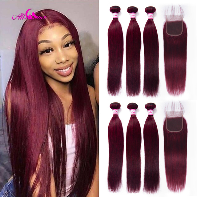 $ US $65.43 Ali Coco Brazilian Straight Burgundy Hair Bundles #99 Bold Red With Closure Human Hair Weave Bundle Deals Remy Hair Extensions