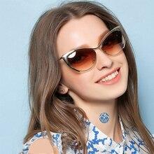 Trendy Fashion Cat Eye Sunglasses 2018 mirror Metal Big Shades Designer Brand Lu