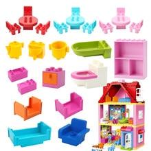 Grandes blocos de construção móveis acessórios do banheiro mesa cadeira gabinete compatível com duploes tijolo crianças brinquedo meninos para o presente