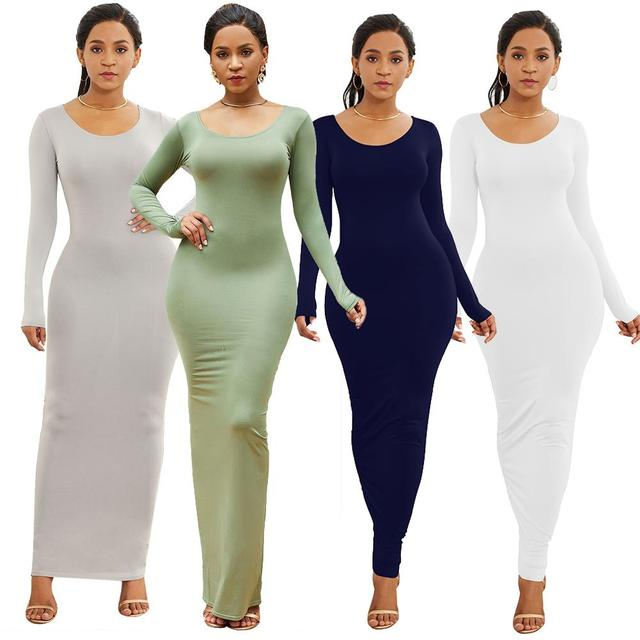 HOT SALES!!! Spring Autumn Sexy Women Solid Color Long Sleeve Round Neck Bodycon Maxi Dress evening party dress sexy comfortable 1