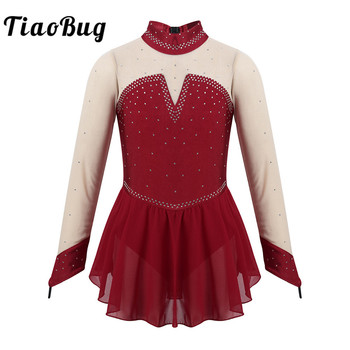 TiaoBug Kids Sparkly Rhinestones Long Sleeves Figure Skating Dress Girls Ballet Gymnastics Leotard Stage Performance Dance Wear - discount item  27% OFF Stage & Dance Wear