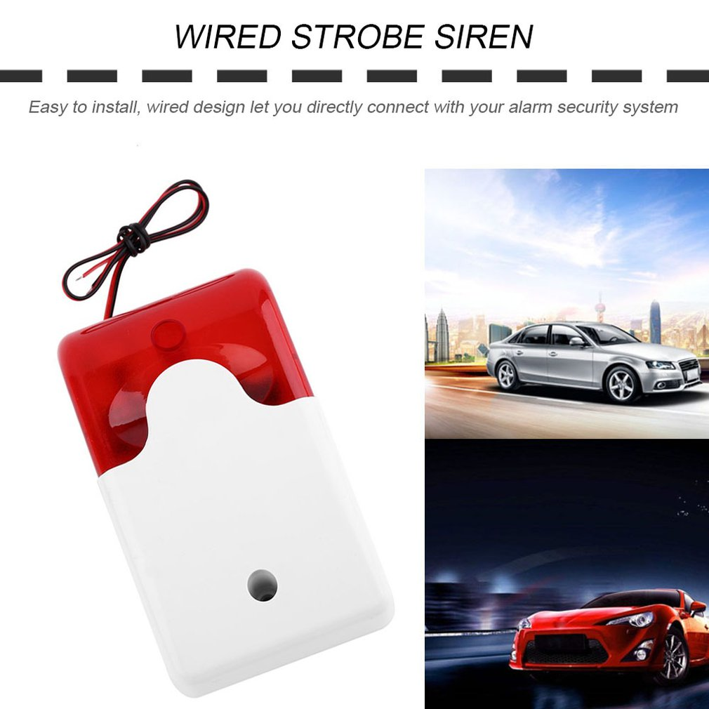 Practical Wired Strobe Siren Alarm Detector Strobe 12V Flashing Red Light Sound Alert Home Office Security Alarm System 110dB