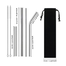 Drinking-Straws-Set Metal Reusable 304-Stainless-Steel of Bent with Bursh Bag 9pcs Sturdy