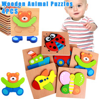 4 Pcs Wooden Animal Jigsaw Puzzles Toddlers Educational Toys Gift Vibrant Color Shapes NSV775