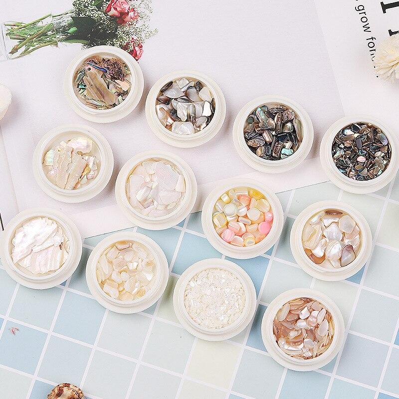 Nouvelles pièces de coquille, perles colorées, coquilles irrégulières, pièces d'ormeau en pierre, décoration de clou rouge filet japonais, art des ongles bricolage
