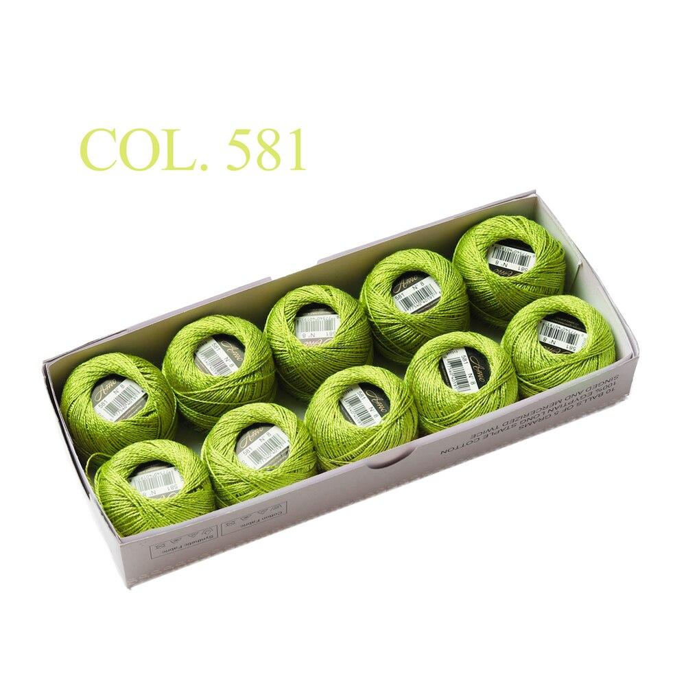 10 коробка с шариками Размер 8 жемчуг Хлопок нитки для вязания 43 ярдов двойная Мерсеризация длинный штапель из египетского хлопка 79 DMC цвета - Цвет: 581