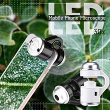 Mobile Phone Digital Microscope Camera with LED Light Phone Universal Mobile Magnifying Glass Macro Lens Zoom Camera Clip
