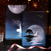 1 pcs Cute Color Pages Diary Agenda Graffiti A5 Starry Night Notebook Sketchbook Watercolor Drawing School Stationery