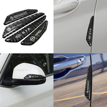 Protector de emblema de coche, Adhesivo de fibra de carbono para Mercedes Benz A C E R M clase CLA GLA AMG W204 W210 W124 W205 W203, 4 Uds.