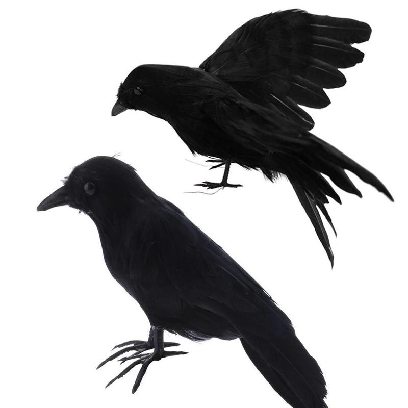 1PCS Halloween Prop Feathers Crow Bird Large Spreading Wings Black Crow Toy Model Toy,performance Prop