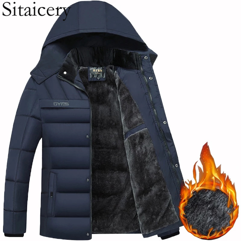 Sitaicery Men's Fashion 2020 Hooded Winter Men's Jacket Thick Warm Windproof Black Men's Clothing Plush Liner Zipper Coat Parka
