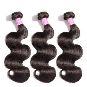 Image 2 - 1/3/4 vücut dalga saç demetleri brezilyalı MS Lula ücretsiz kargo atkı insan olmayan Remy saç demetleri uzatma 30 32 34 36 38 40 inç