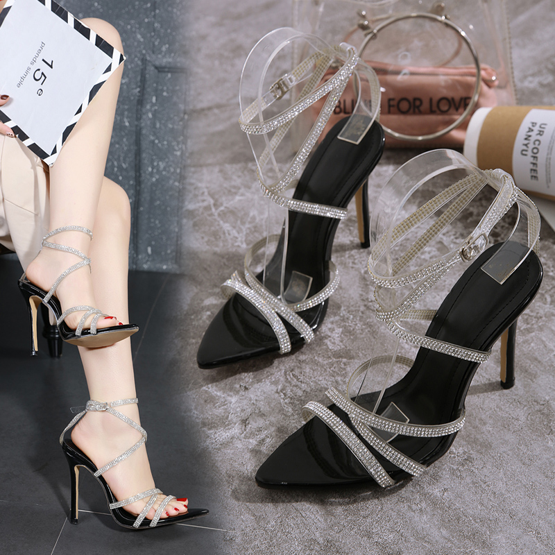 2020 Sandals Pvc Shoes High Heels Suit Female Beige Cross Women's Stiletto Plastic For Pointed Ladies Comfort Block Heeled(China)