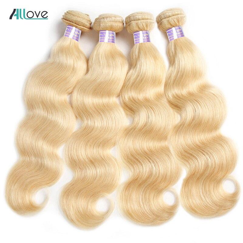 Allove индийские волосы блонд, волнистые волосы 10-30 дюймов 613 пучков, Remy натуральные кудрявые пучки волос 1/3/4 шт./лот, можно купить
