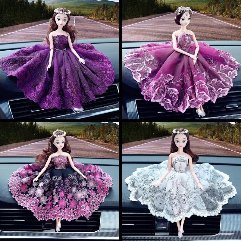 Car Accessories Women's Wedding Dolls Creative Car Accessories Lovely Long Hair Lace Dress Car Accessories Car Ornament