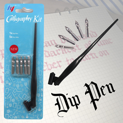 New Arrival Dip Pen Manga Calligraphy Dip Pen Holder+6 Nibs for Lettering Sketching Drawing Kit Fountain Pen Stationery Supplies