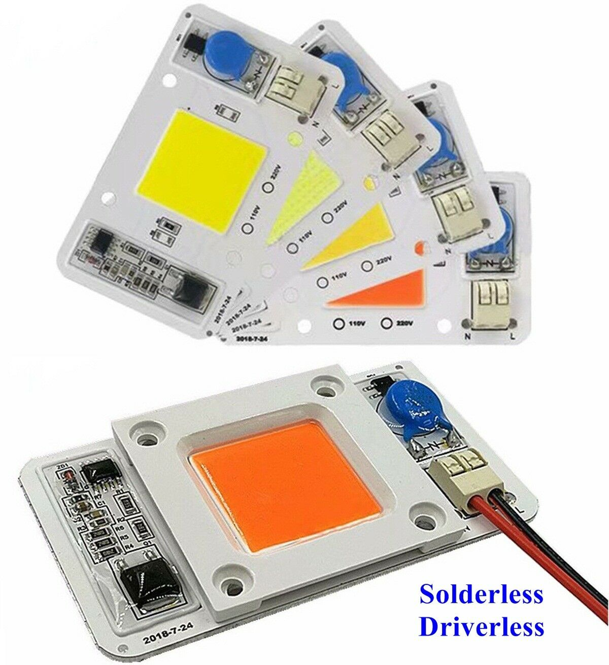50W Driverless Solderless LED Chip Integrated Smart IC DIY R G B W Full Spectrum Pink  Whtie 110VAC 220VAC