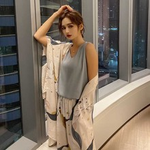 Pyjama 4 pièces pour femme, ample et confortable, vêtements de nuit à ciel étoilé, doux et élégant, pour la maison, été, collection tenue décontracté