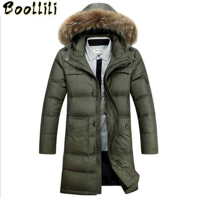 Boollili Donsjack 2020 Mens Winter Jassen Bont Hooded Man Down Jas Mannen Lange Parka Dikke Warme bovenkleding WLF092