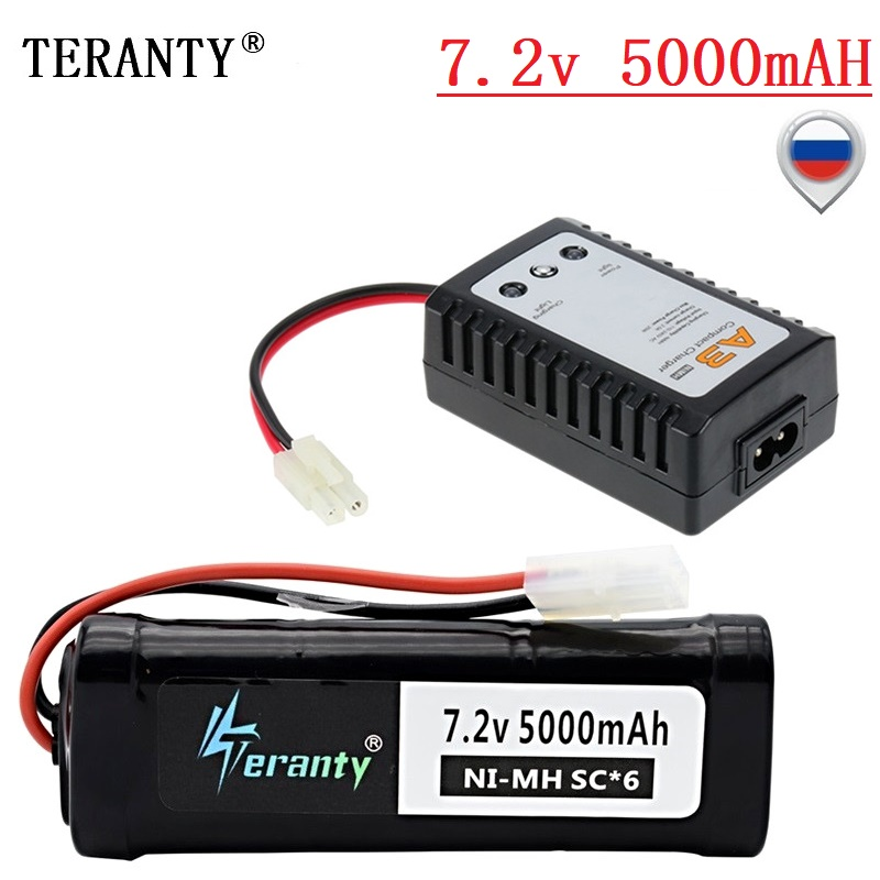 7.2v 5000mAh NiMH Battery And 7.2V A3 Charger MAX 40c With Tamiya Connector SC*6 Cells 7.2v Battery Pack For RC Car Boats Trucks