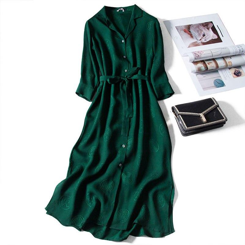 Green Jacquard Natural Silk Dress Women 2020 Straight Vintage 3/4 Sashes Mid-Calf Notched Designer Women Dresses High Quality