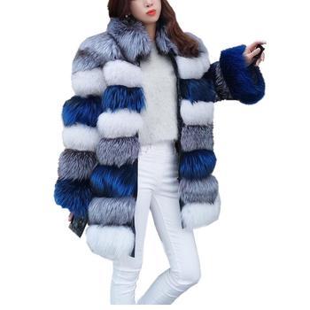 2020 Winter Parka Coat  Luxury Long Sleeve Stand Fur Collar Coat Jacket Long Faux Fur Coat Overcoat Faux Fox Fur Jacket Outwear faux fur double breasted coat