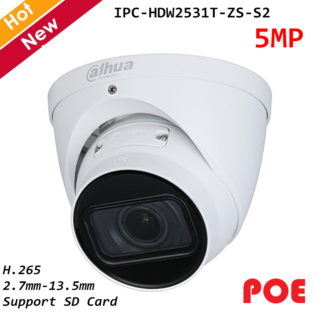 New Dahua Poe IP Camera 5MP Lite IR Vari-focal 2.7mm-13.5mm H.265 Eyeball Network Camera Support SD Card Waterproof IP67