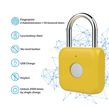 Fingerprint Lock Smart Padlock Thumbprint Door Padlocks Portable Anti-Theft Fingerprint Lock for Bag Drawer Suitcas yellow lock