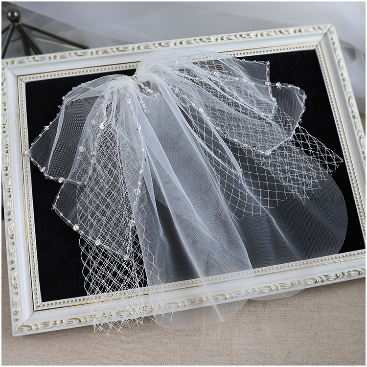 Boutique Short Veil White Beaded Bowknot Makeup Styling Women Hair Accessories Bride Wedding