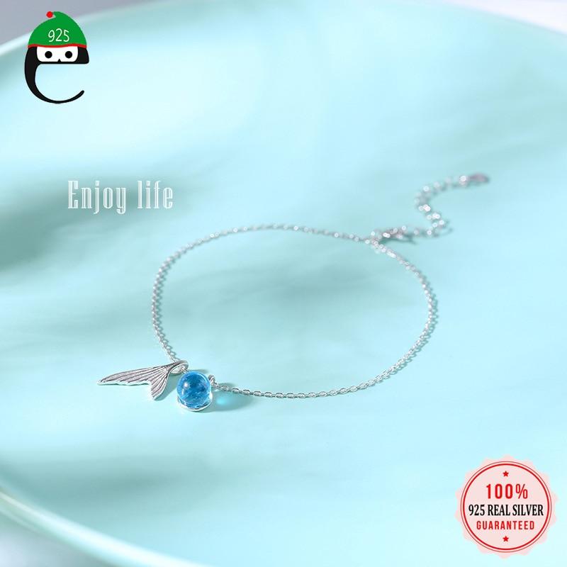 Elfoplatssi Genuine 100% 925 Sterling Silver Sweet Blue Mermaid Tail Anklets For Women Girls Fine Sterling Silver Jewelry ED430
